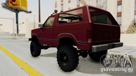 Ford Bronco 1985 Lifted для GTA San Andreas вид сзади слева