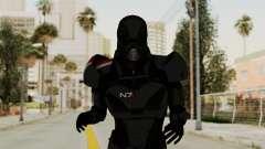 ME2 Shepard Default N7 Armor with Death Mask для GTA San Andreas