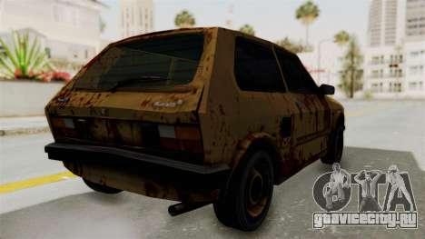 Zastava Yugo Koral 55 Rusty для GTA San Andreas вид сзади слева