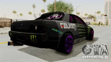 Nissan Skyline R32 Drift Monster Energy Falken для GTA San Andreas вид сзади слева