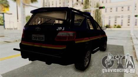 Toyota Fortuner JPJ Dark Blue для GTA San Andreas вид сзади слева