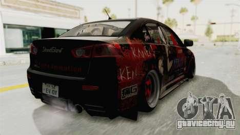 Mitsubishi Lancer Evolution X Ken Kaneki Itasha для GTA San Andreas вид сзади слева