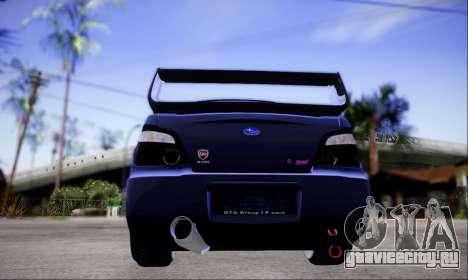 Subaru impreza WRX STi LP400 v2 для GTA San Andreas вид сзади