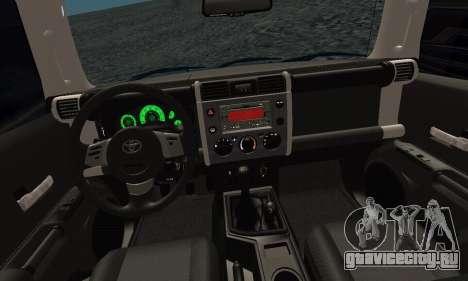 Toyota FJ Cruiser для GTA San Andreas вид изнутри