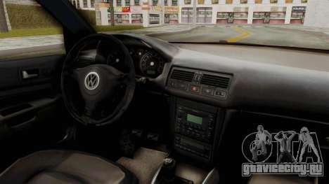 Volkswagen Golf Mk4 V5 Edited для GTA San Andreas вид изнутри