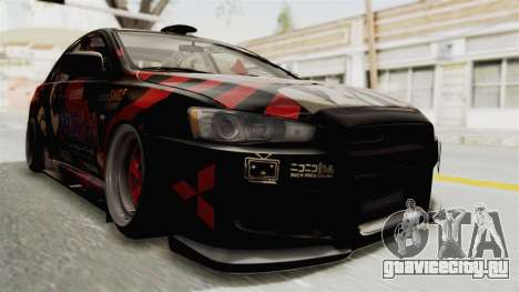 Mitsubishi Lancer Evolution X Ken Kaneki Itasha для GTA San Andreas вид справа