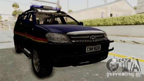 Toyota Fortuner JPJ Dark Blue для GTA San Andreas вид справа