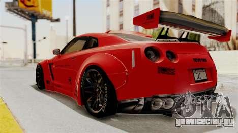 Nissan GT-R R35 Liberty Walk LB Performance v2 для GTA San Andreas вид слева