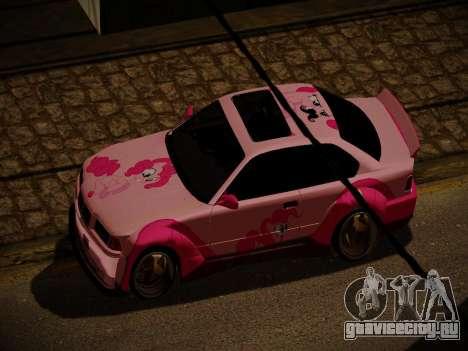 BMW M3 E36 Pinkie Pie для GTA San Andreas вид снизу