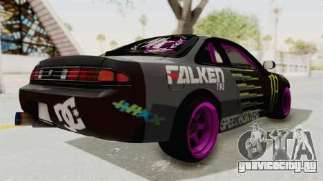 Nissan Silvia S14 Drift Monster Energy Falken для GTA San Andreas вид сзади слева