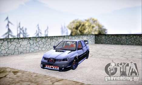 Subaru Impreza WRX STI Dark Knight для GTA San Andreas вид сзади слева