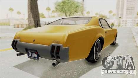 GTA 5 Declasse Sabre GT2 A IVF для GTA San Andreas вид сзади слева