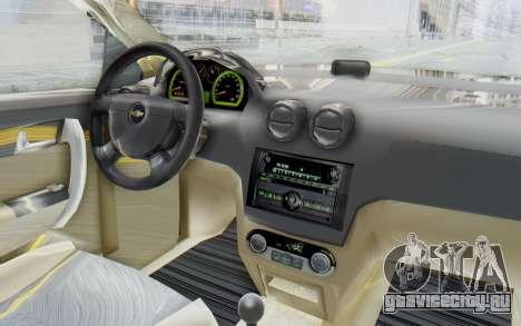 Chevrolet Aveo 2007 для GTA San Andreas вид изнутри