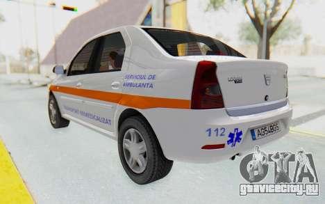 Dacia Logan Facelift Ambulanta для GTA San Andreas вид сзади слева