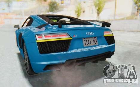 Audi R8 V10 2017 v2.0 для GTA San Andreas вид сверху