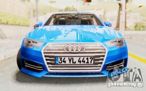 Audi A4 2017 HQLM для GTA San Andreas вид сзади