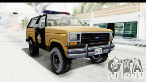 Ford Bronco 1982 Police IVF для GTA San Andreas вид справа