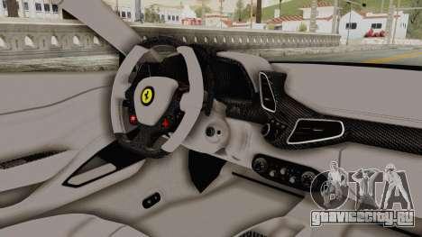 Ferrari 458 VPM Crew для GTA San Andreas вид изнутри