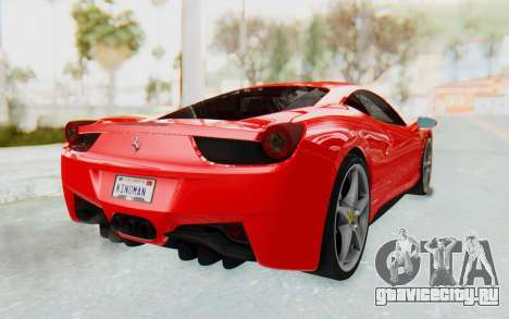 Ferrari 458 Italia F142 2010 для GTA San Andreas вид слева