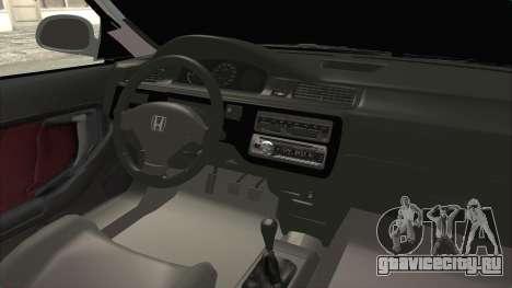 Honda Civic SI Sedan 1992 для GTA San Andreas вид изнутри