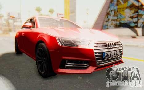 Audi A4 2017 IVF для GTA San Andreas вид сзади