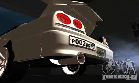 Nissan Skyline ER34 GT-R для GTA San Andreas вид изнутри