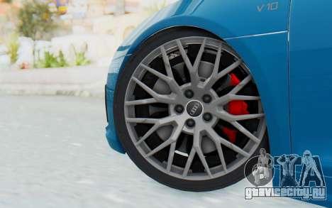 Audi R8 V10 2017 v2.0 для GTA San Andreas вид сзади слева