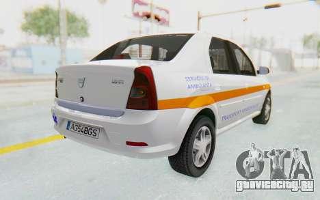 Dacia Logan Facelift Ambulanta для GTA San Andreas вид слева