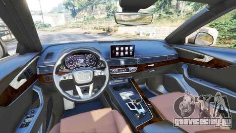 Audi A4 2017 для GTA 5 вид спереди справа