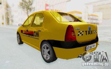 Dacia Logan Taxi для GTA San Andreas вид сзади слева