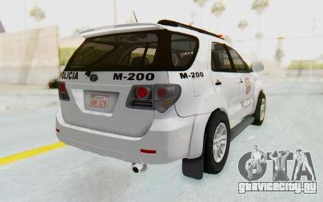 Toyota Fortuner 4WD 2015 Paraguay Police для GTA San Andreas вид сзади слева