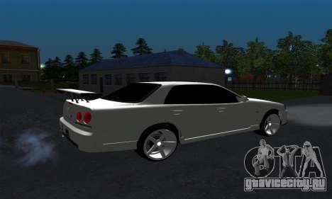 Nissan Skyline ER34 GT-R для GTA San Andreas вид сзади слева