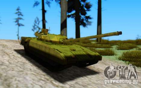 T-14 Armata Green для GTA San Andreas вид сзади слева