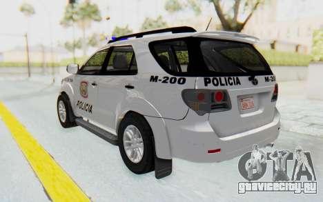 Toyota Fortuner 4WD 2015 Paraguay Police для GTA San Andreas вид слева