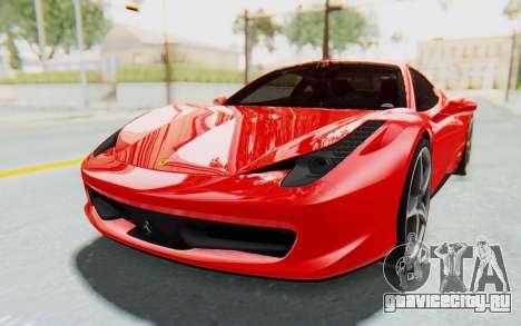 Ferrari 458 Italia F142 2010 для GTA San Andreas вид справа