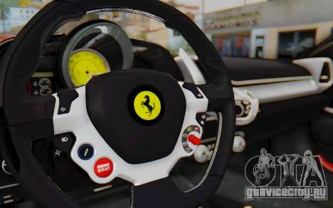 Ferrari 458 Italia F142 2010 для GTA San Andreas вид изнутри