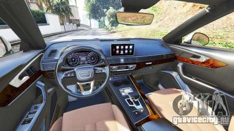 Audi A4 2017 v1.1 для GTA 5 вид спереди справа