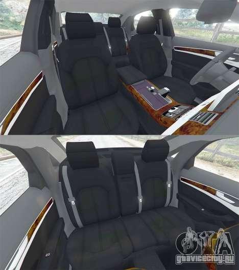 Audi A8 FSI 2010 для GTA 5 руль и приборная панель
