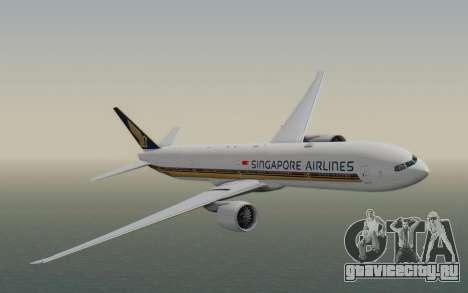 Boeing 777-300ER Singapore Airlines v1 для GTA San Andreas вид сзади слева