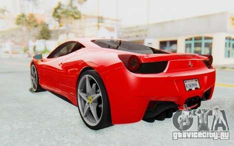 Ferrari 458 Italia F142 2010 для GTA San Andreas вид сзади слева