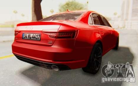 Audi A4 2017 IVF для GTA San Andreas вид справа