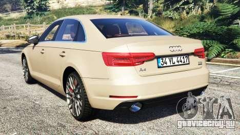 Audi A4 2017 для GTA 5 вид сзади слева