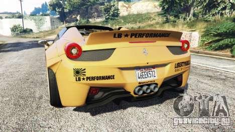 Ferrari 458 Spider [Liberty Walk] для GTA 5 вид сзади слева