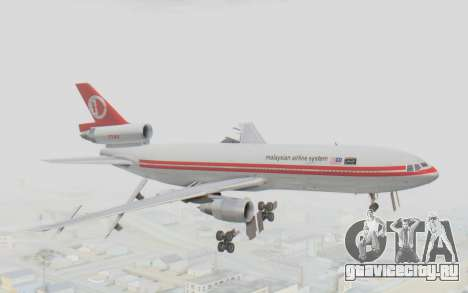 DC-10-30 Malaysia Airlines (Retro Livery) для GTA San Andreas вид сзади слева