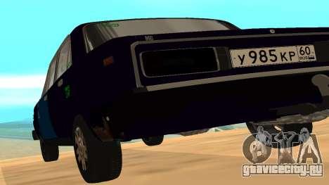 Ваз-2106 для GVR ранняя версия для GTA San Andreas вид сзади слева