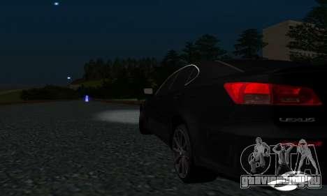 Lexus IS-F для GTA San Andreas вид изнутри