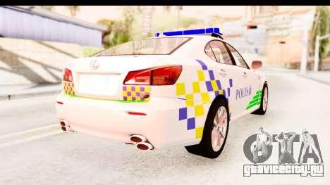 Lexus IS F PDRM для GTA San Andreas вид слева