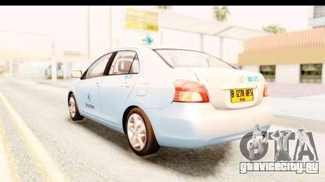 Toyota Vios 2008 Taxi Blue Bird для GTA San Andreas вид слева