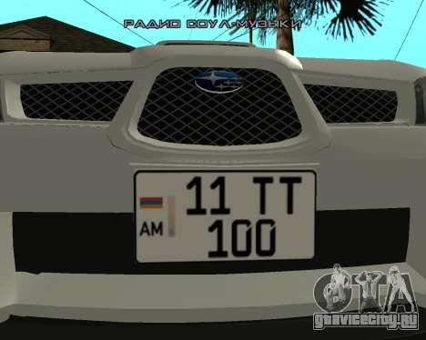 Subaru Impreza Armenian для GTA San Andreas вид сзади слева