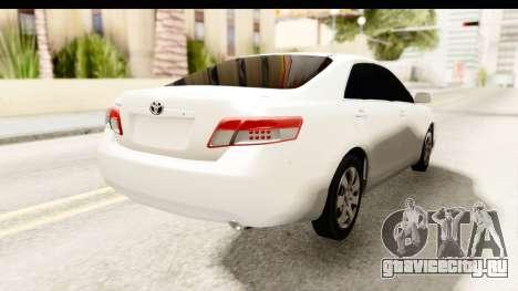 Toyota Camry GL 2011 для GTA San Andreas вид сзади слева